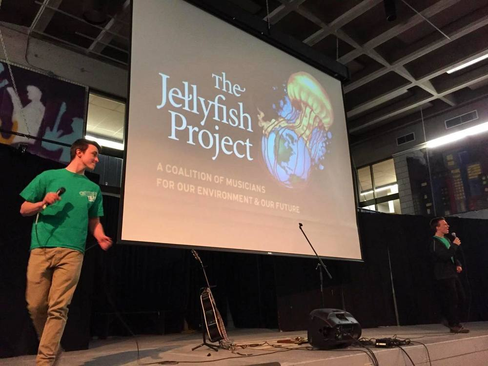 Students introducing Corrina and The Jellyfish Project at Lake of Two Mountain High School