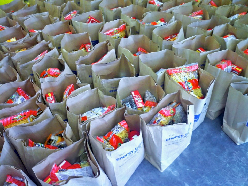 Food bags ready for distribution to those in need...