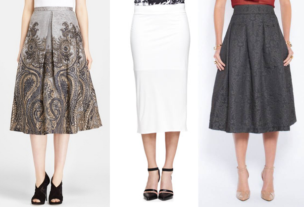 Left: Tracy Reese Invert Pleat Print Linen & Silk skirt Center: Helmut Lang Ion Jersey Midi skirt Right: Bri Seeley Jaclyn skirt