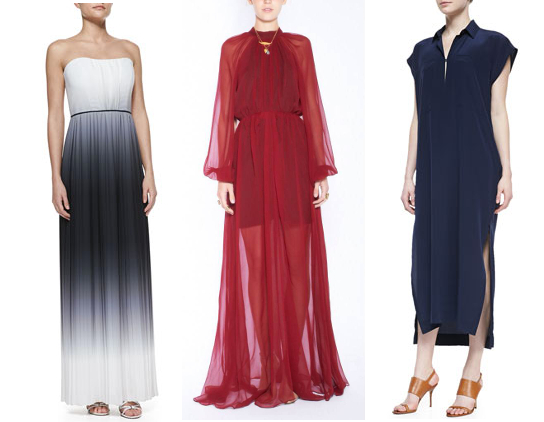 Left: Milly Monica Ombre Strapless Maxi dress Middle: Bri Seeley Chloe dress Right: Derek Lam Oversized Two-Pocket Maxi dress
