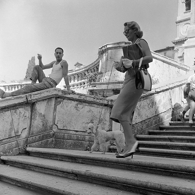 An Italian labourer watches an American tourist walking her poodle down the Spanish Steps in Rome circa 1955 . . . #marchetti #marchetticafe #coffee #brisbane #brisbanecity #brisbanecafe #cafe #brisbanebreakfast #brisbanecoffee #food #italiancoffee #barista #espresso #brisbanefood #coffeeshop #italianfood #visitbrisbane