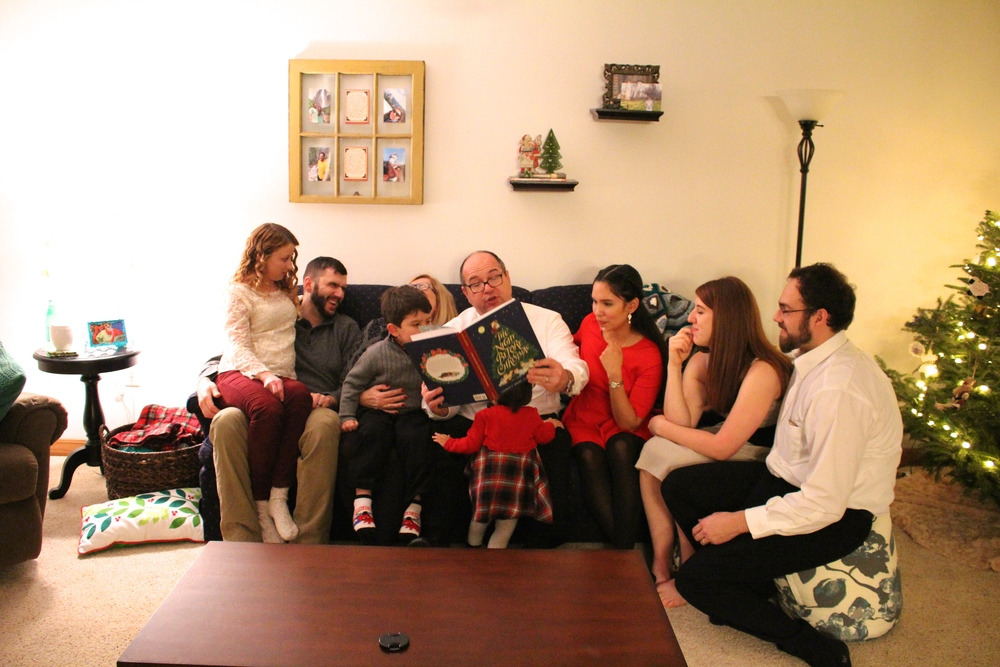 reading the night before Christmas; a family tradition<3