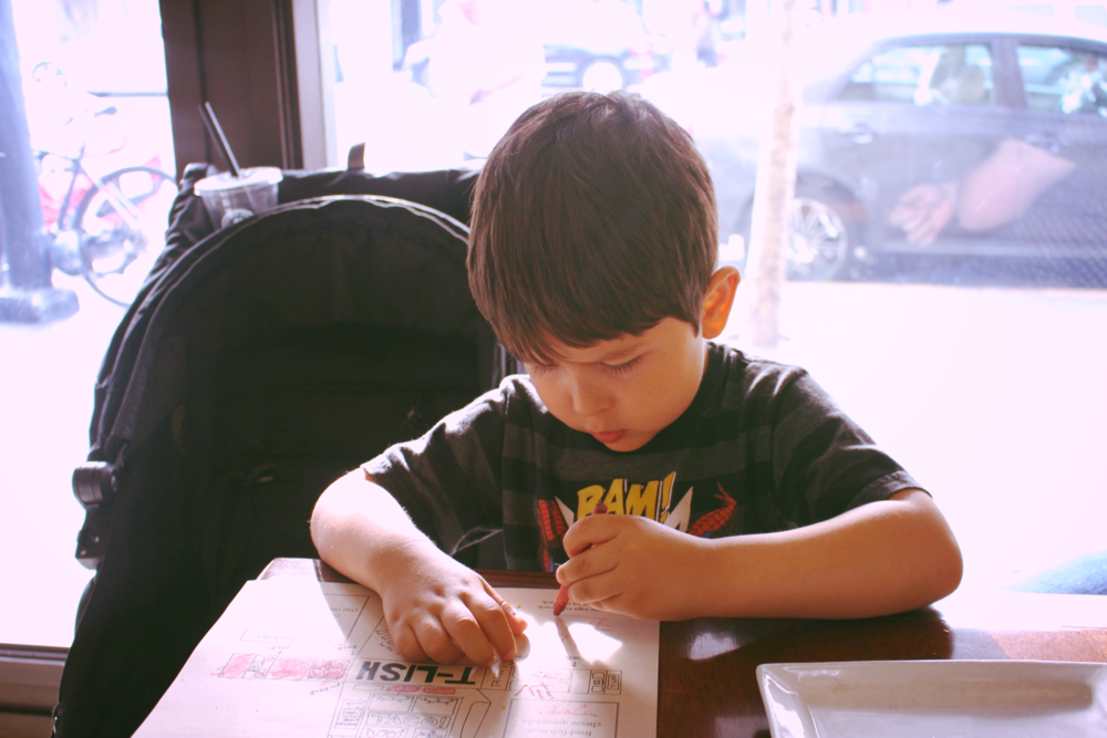 His grip and concentration have been coming along=)