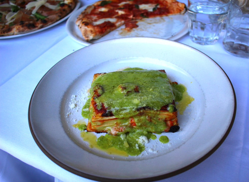 Shrimp and pesto lasagna. Intriguing flavors.