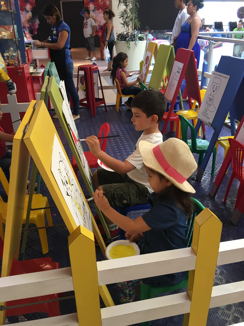 A sweet spot we found for the kids to paint in a local mall.