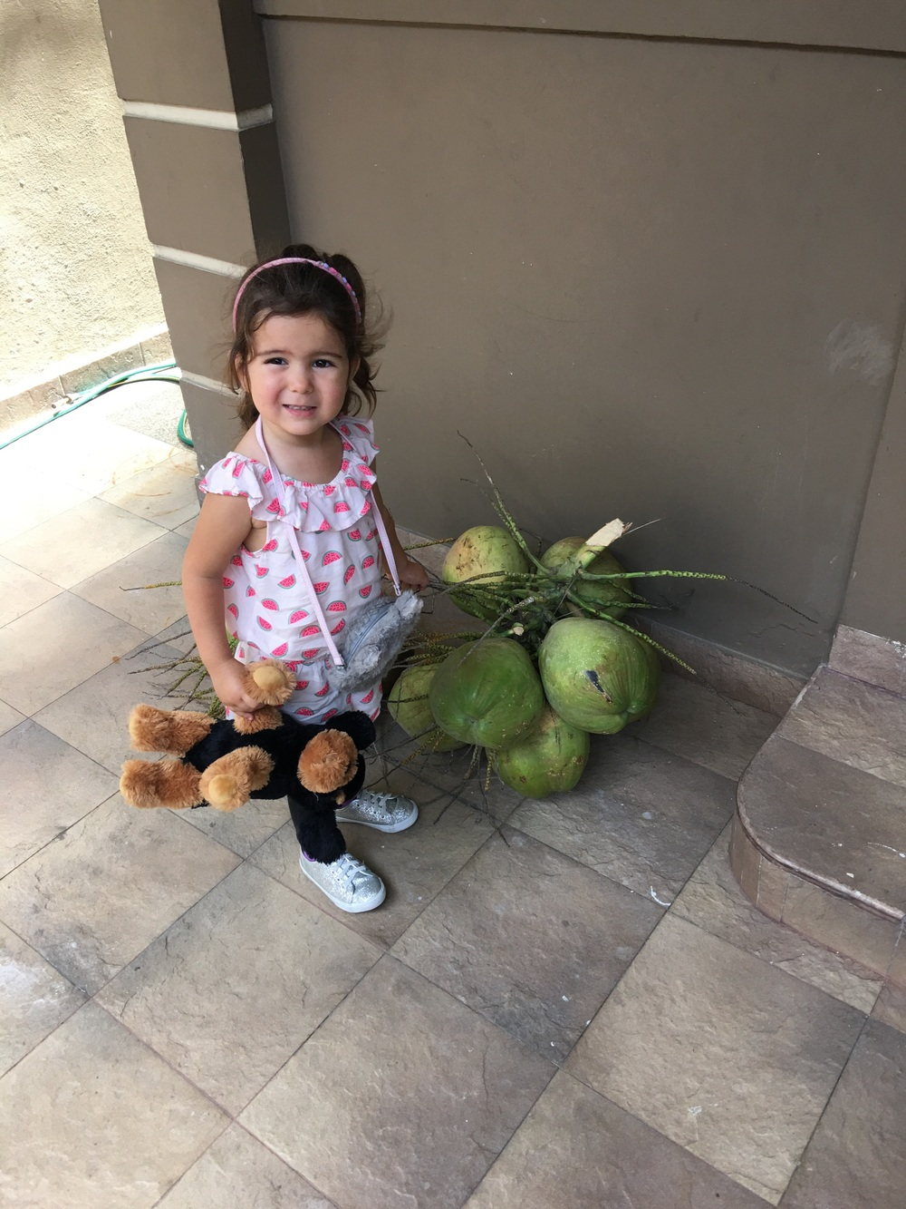 Grandpa brought us fresh coconuts. I think Dominika was astounded to see were coconut water comes from.