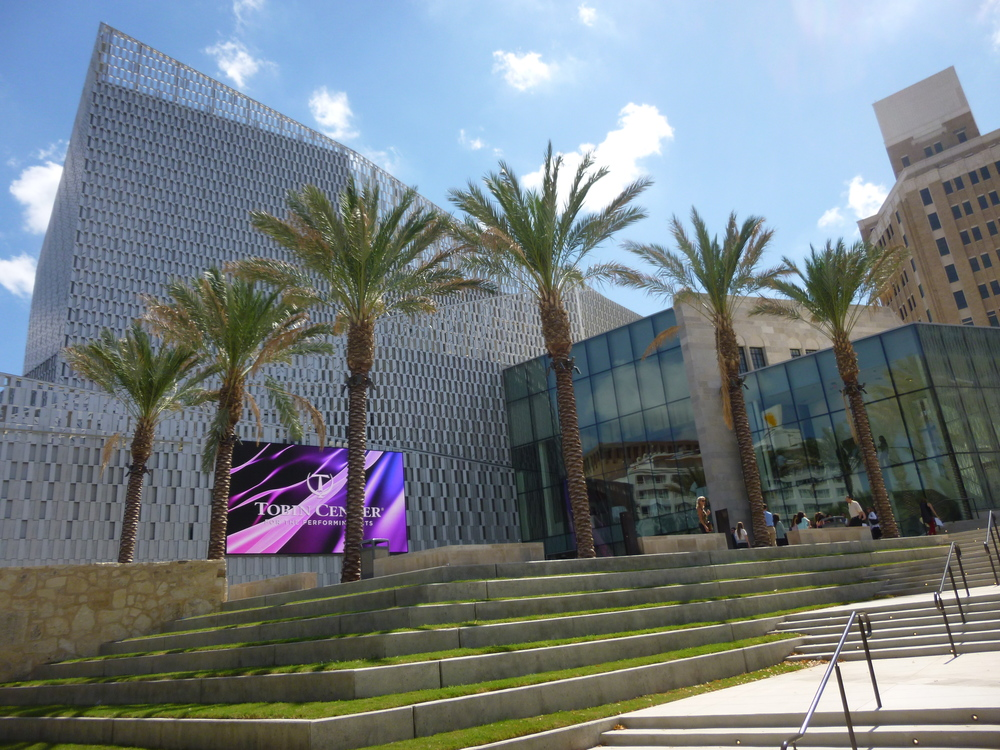 The Tobin Center for the Performing Arts, seen from the RiverWalk