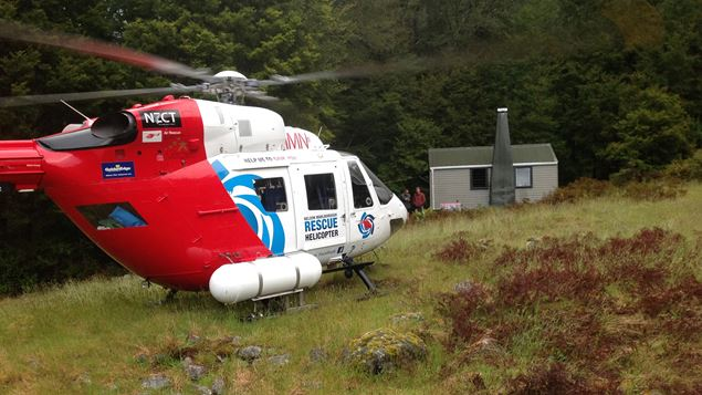 The Nelson Marlborough Rescue helicopter rescues an injured tramper from the Thor Hut in Kahurangi National Park (Supplied)