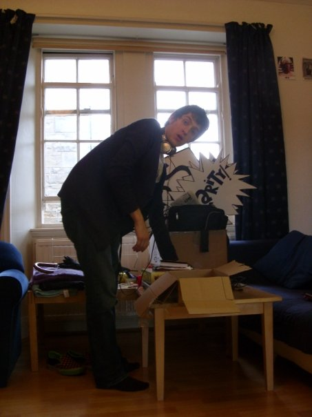 An imp tidying the flat – a rare photograph