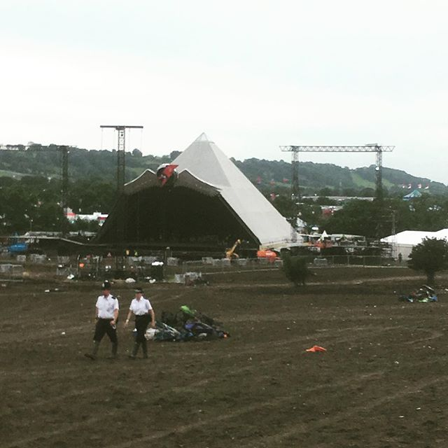 Monday night, pyramid stage. Noticed we were just through the trees on the right all weekend!