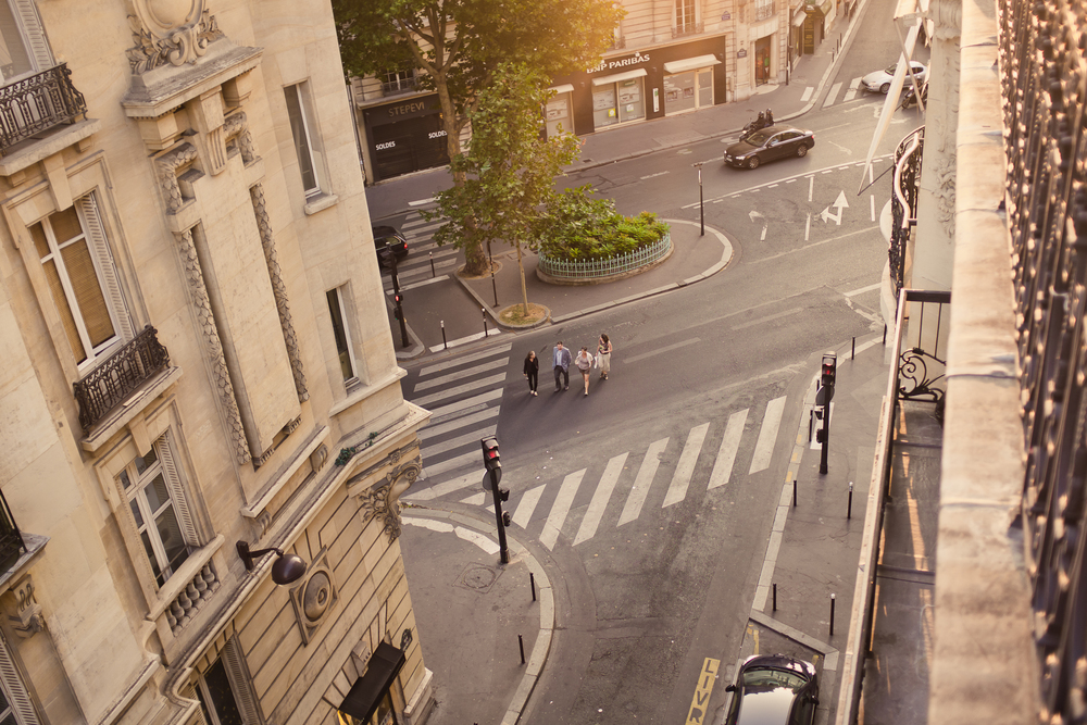 Looking down on the streets in  Paris, France by Seattle based photographer Dylan Priest