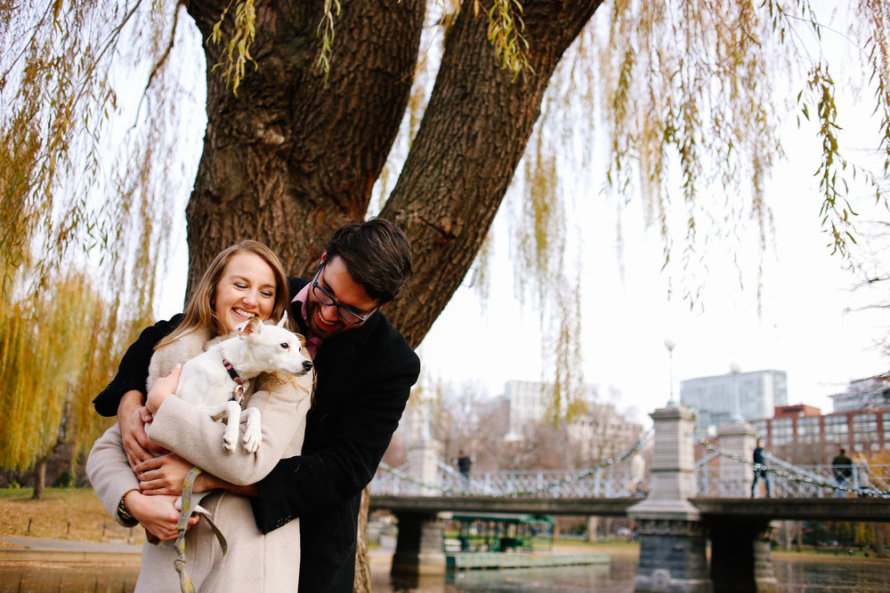 Sarah and Yamil (with August the dog) in the Boston Public Gardens