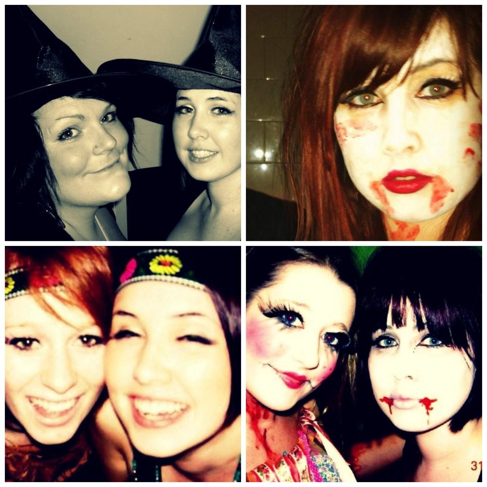Top Left: My friend Chop and I out as witches, Top Right: Last year when I went as Dead Riding Hood, Bottom Right: My friend Ellie and I, I was a vampire bat and she was a doll, Bottom Left: Me and my best friend as Indians at a Cowboys and Indians night.