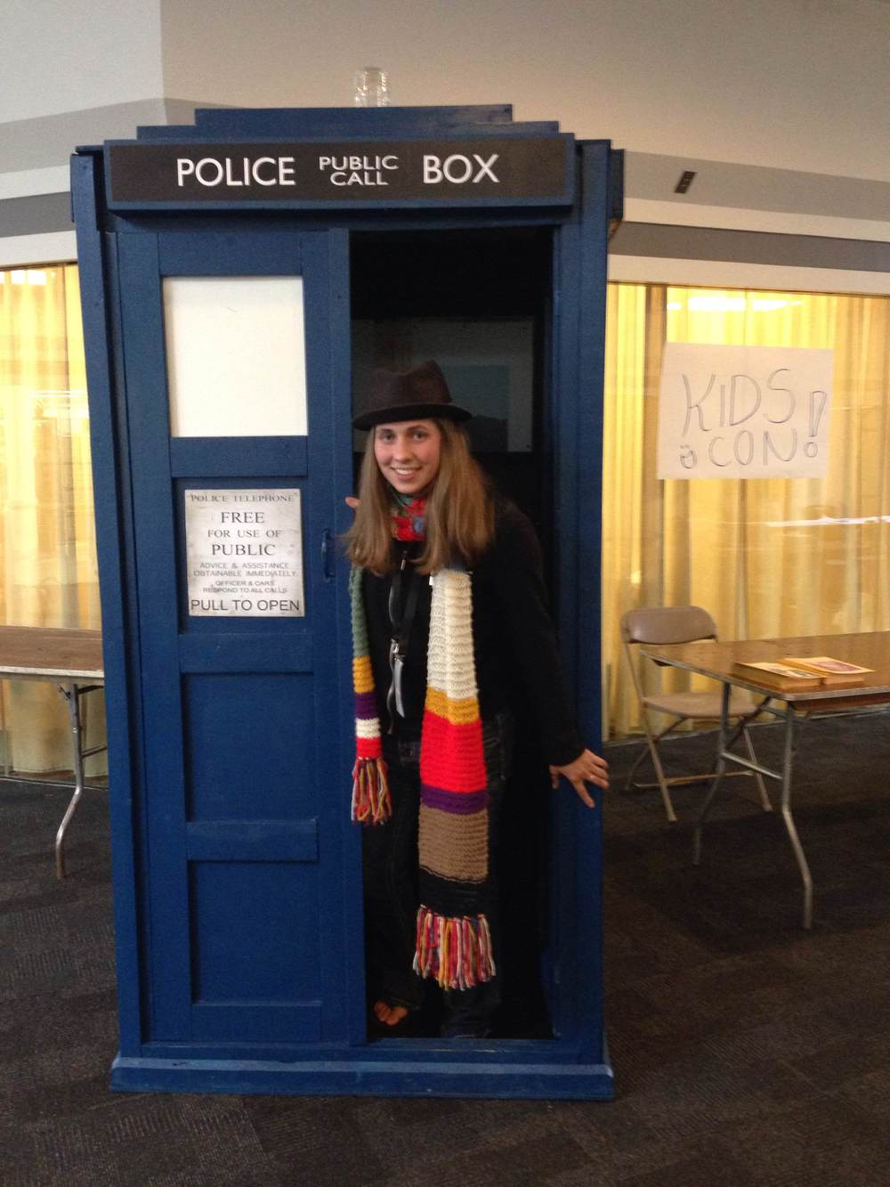 Me, in the Tardis, in my 4th Doctor scarf and hat.