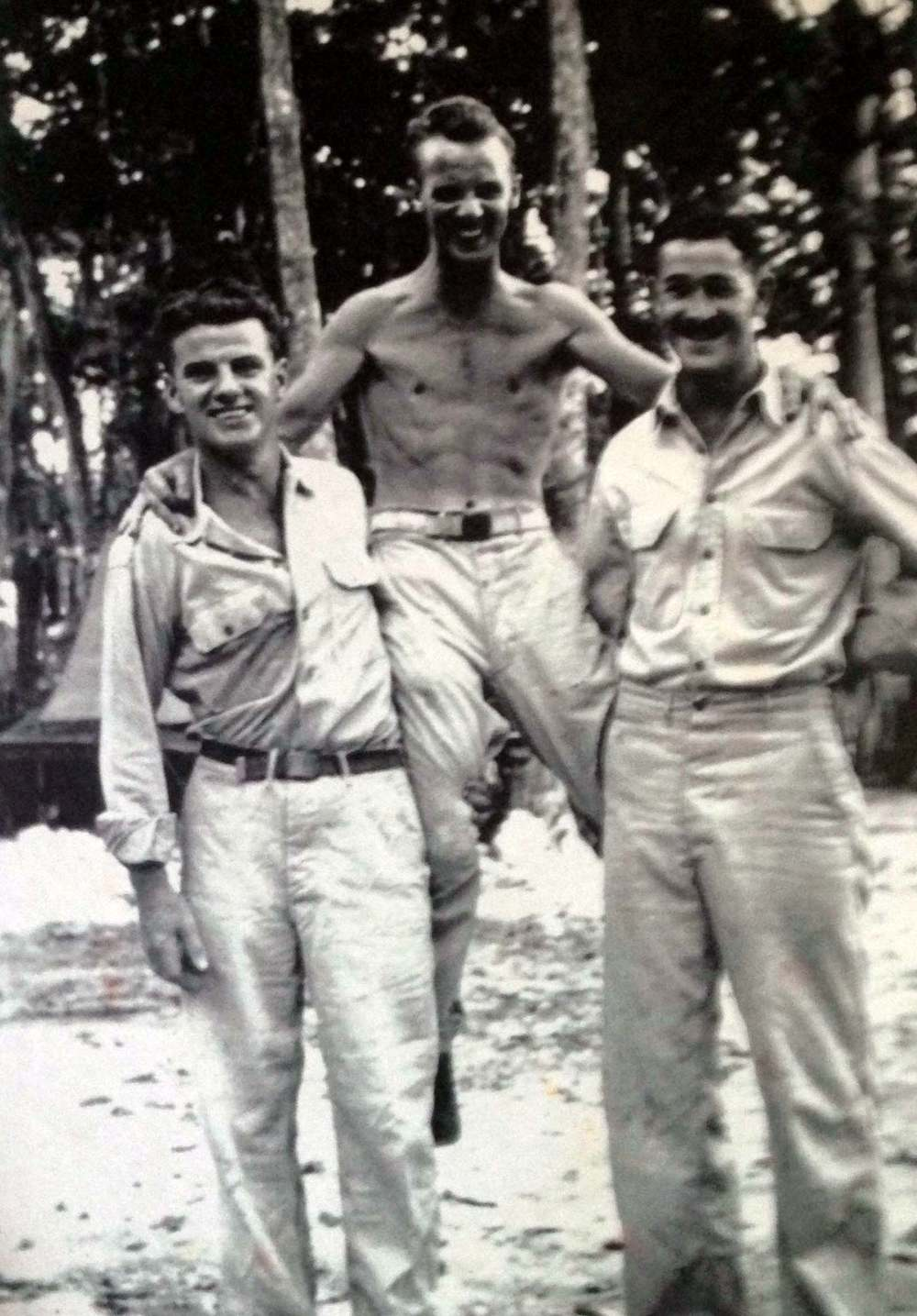 Jack with two of his friends in the South Pacific.