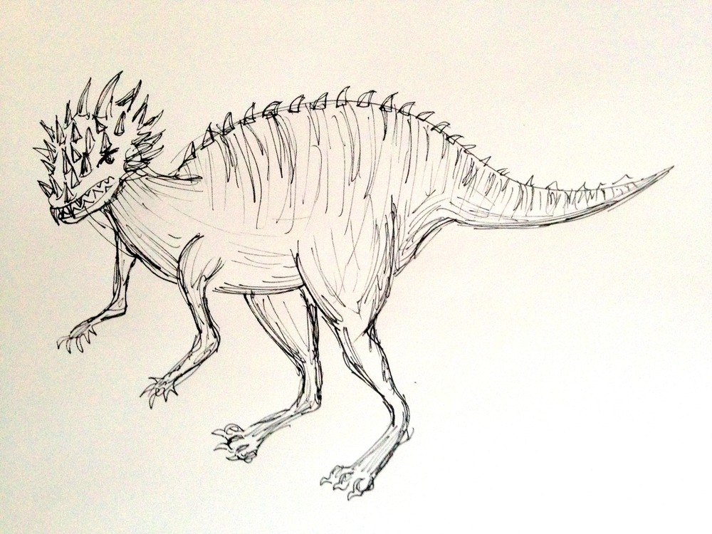 This is my version of a Dracorex. I haven't invented a time machine yet, but eventually I'll get around to it. Then I'll go back in time and visit this little buddy (only 500 pounds).
