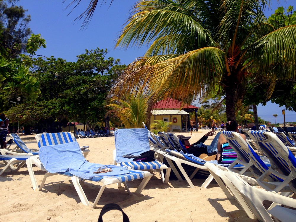 Here is some more Haiti beach. Lots of chairs. Lots of trees. Lots of sun. They say the water was nice too.