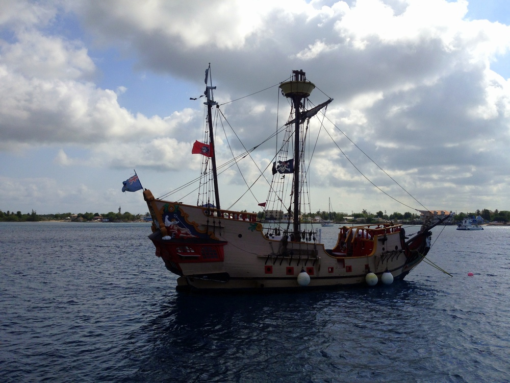 The pirate ship off the coast of Grand Cayman.