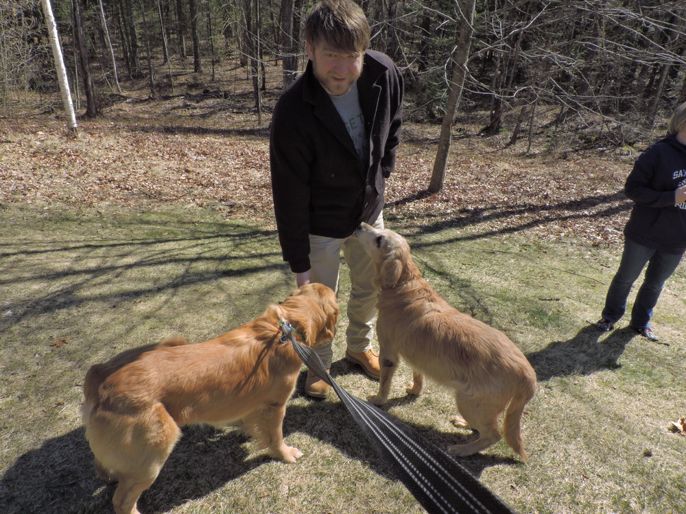 This was a problem too. Josh is a dog attractor, and they just wanted to go hang out with him!