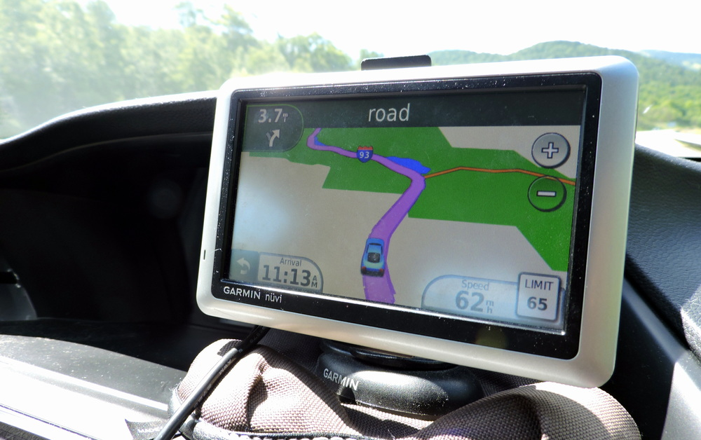 "The GPS helpfully indicates that our next turn is ""road."""