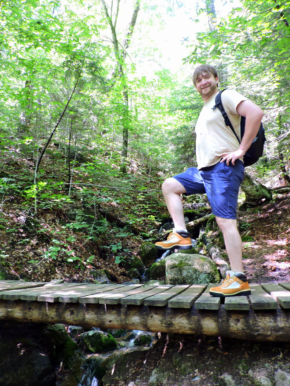 In this photo, Josh demonstrates not only his superb hiking skills, but also his new pair of Timberland hiking boots.