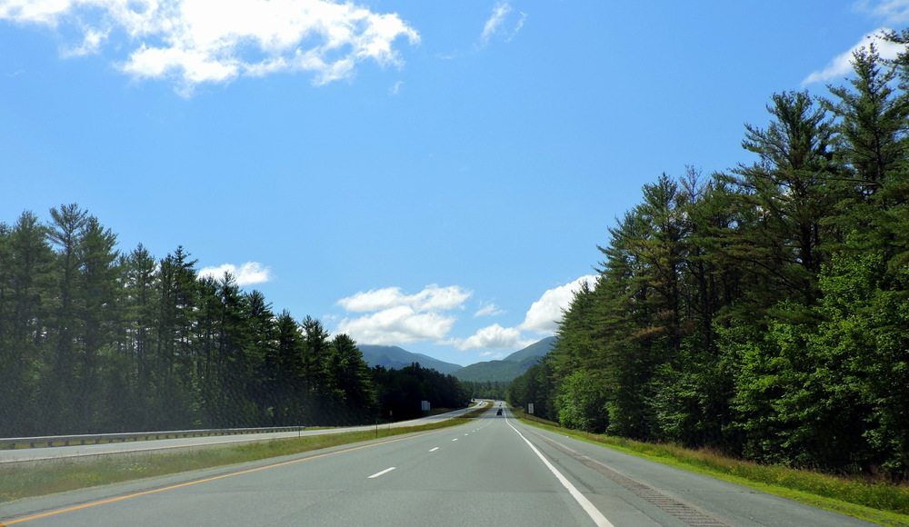 Constructed between 1954 and 1959, Interstate 93 runs directly through Franconia Notch, starting at Canton, MA and ends in St. Johnsbury, VT.