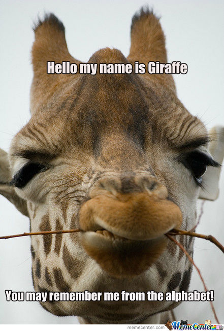 Photo credit: http://www.memecenter.com/fun/777812/g-is-for-giraffe