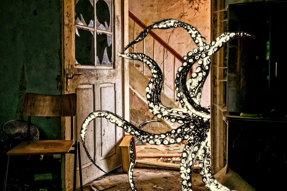 This is a teaser image I made of tentacles in an abandoned house (abandoned places being basically the entire setting for the book).