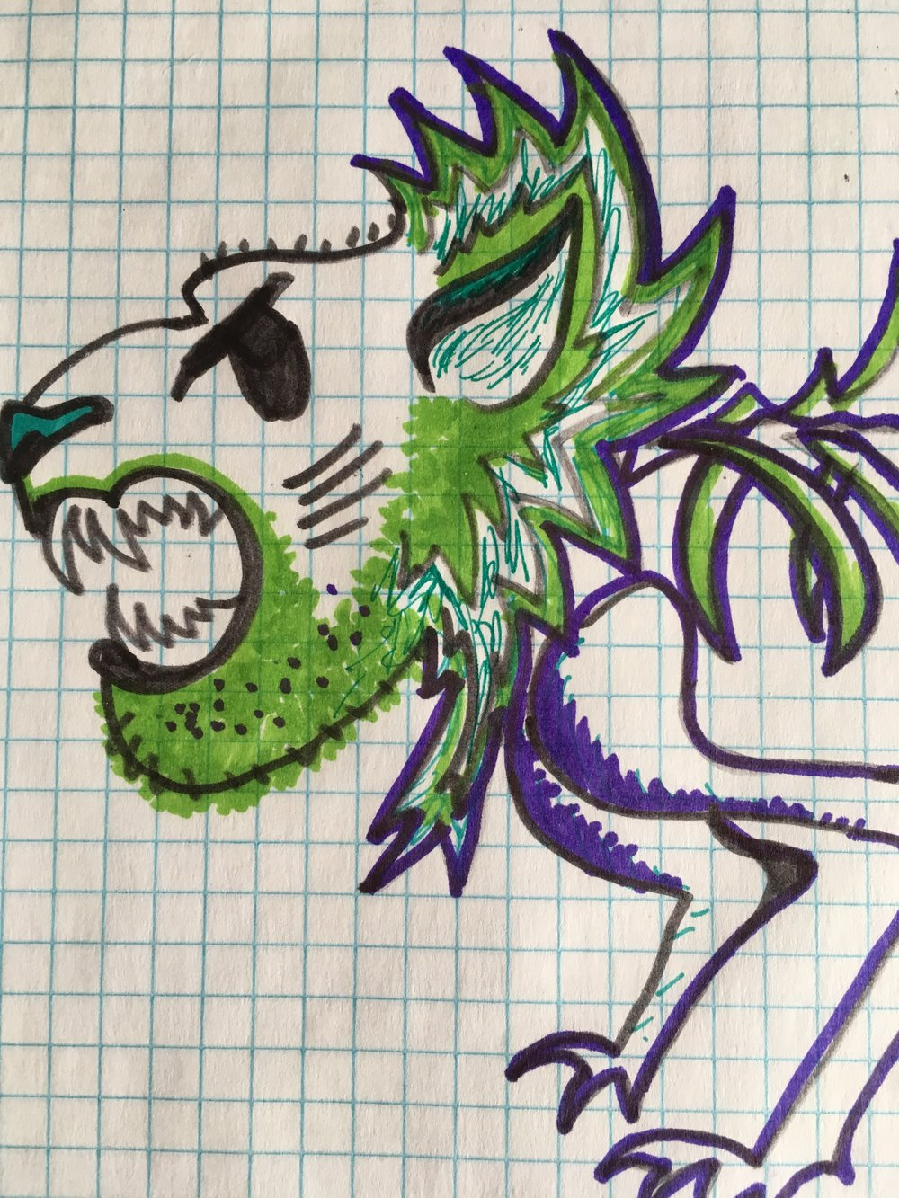 I also have this fun one I did with sharpies on graph paper. Looks like it has a green beard lol