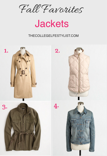 All of these featured jackets are from J.Crew online Factory Store.