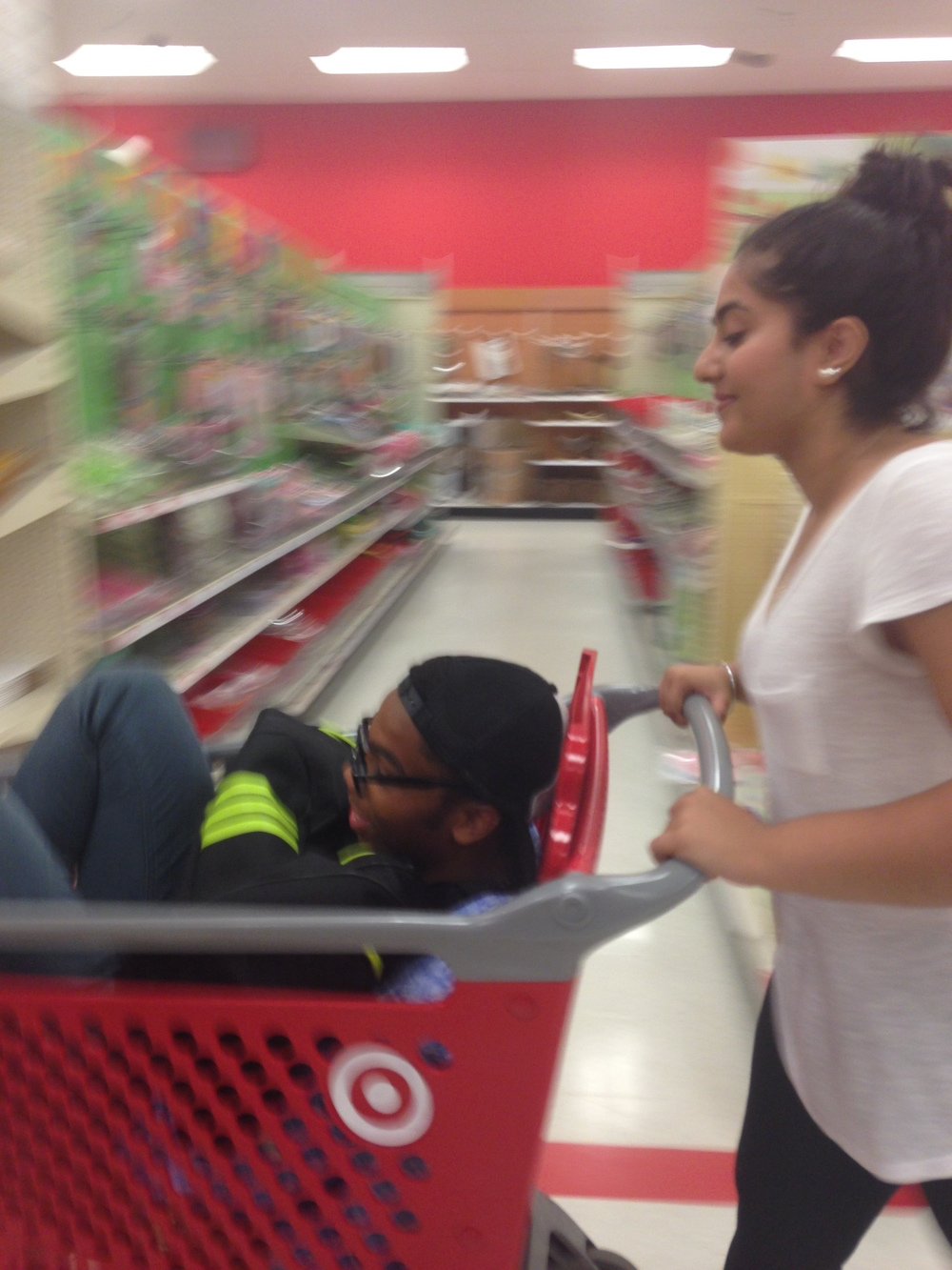how funny is this picture of my roommate, friends and I's first time going to target at college?