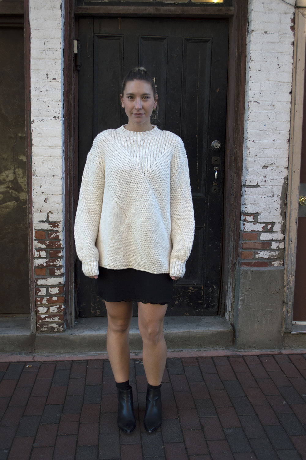 ZARA SWEATER  AND SLIP DRESS (SIMILAR  HERE ),  MARC FISHER ANKLE BOOTIES