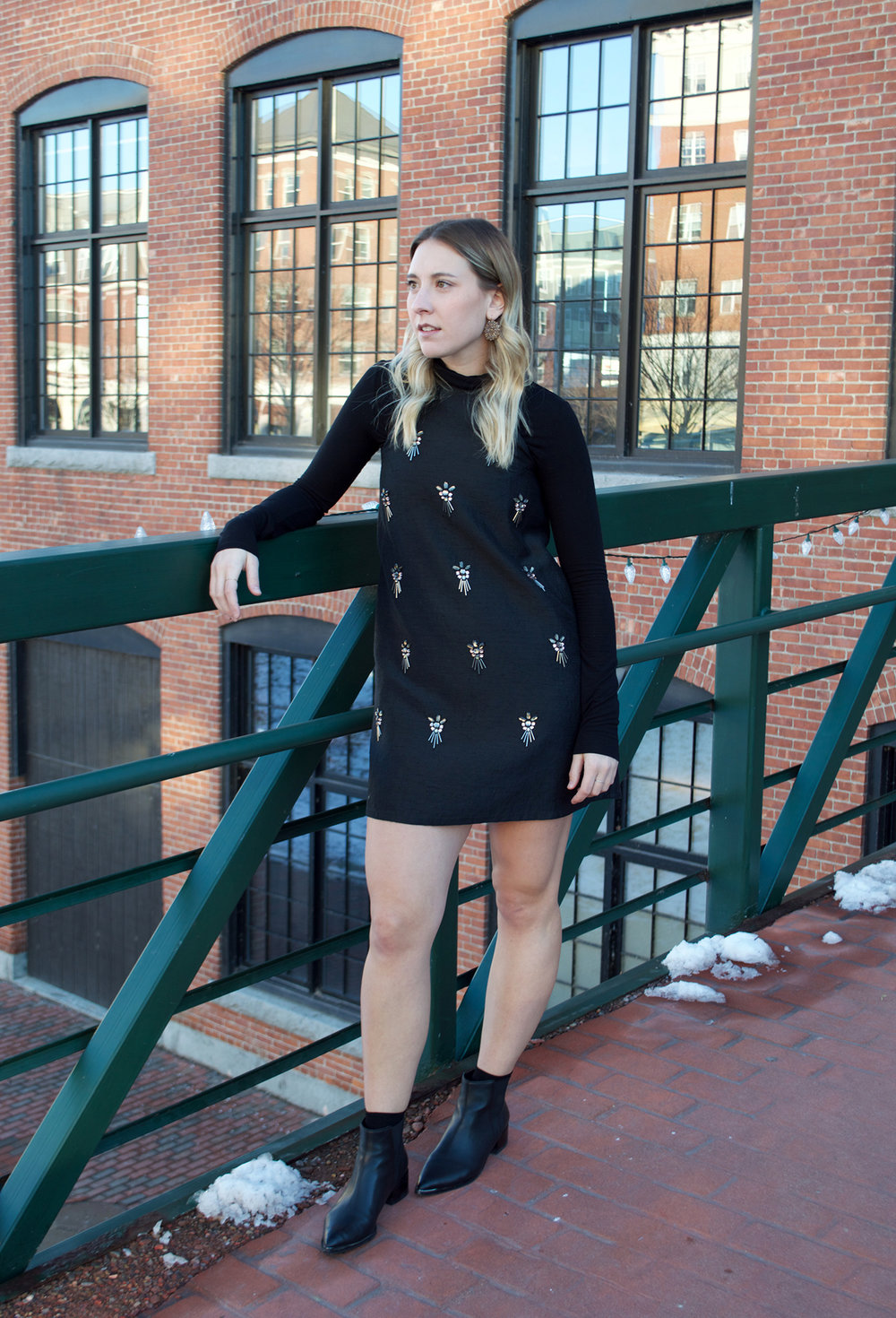 TOPSHOP DRESS, BCBG MAXAZRIA TURTLENECK, MARC FISHER ANKLE BOOTS, VINTAGE EARINGS
