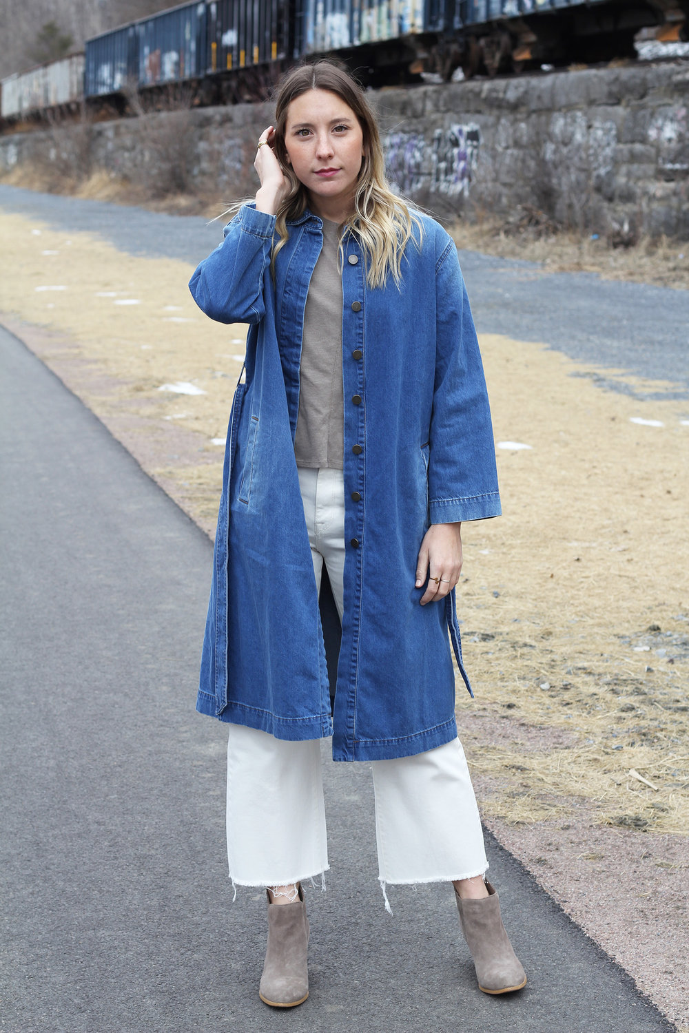 WHO WHAT WEAR DENIM TRENCH ,  DL 1961 WHITE WIDE LEG CROP DENIM , CROWN VINTAGE BOOTIES