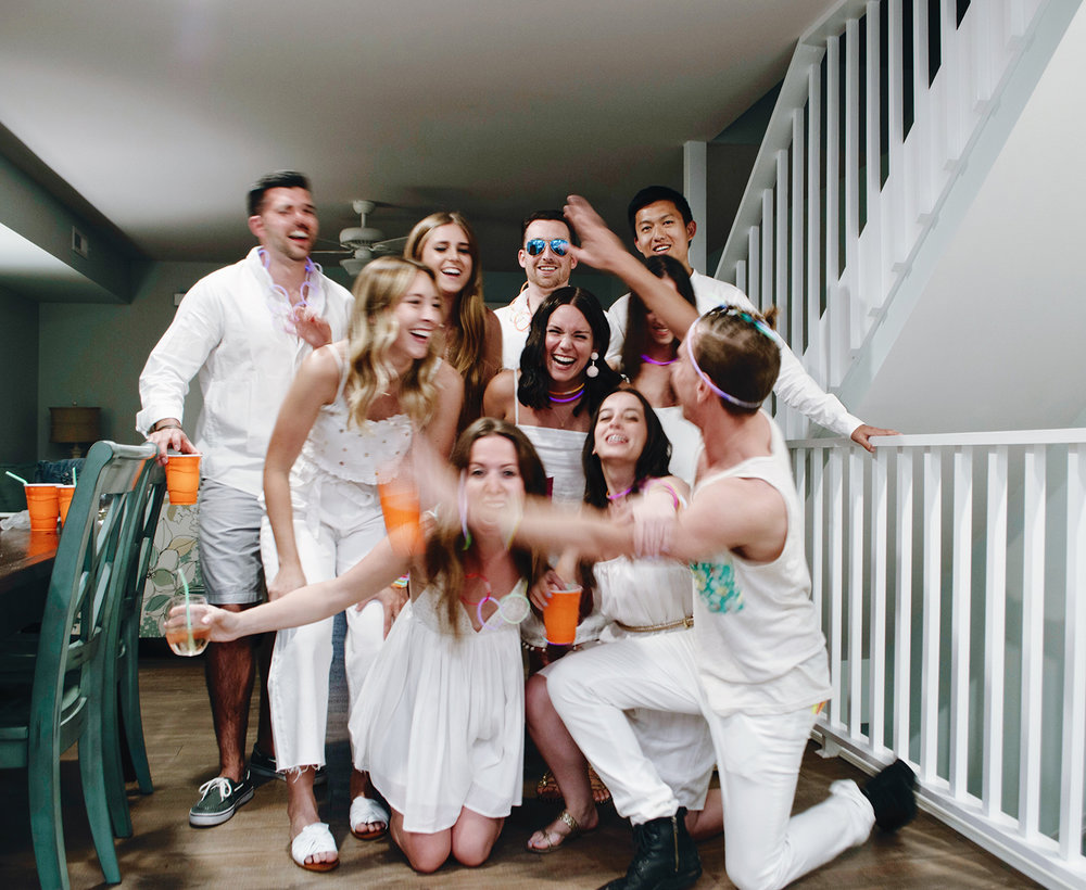 WE THREW OURSELVES A WHITE PARTY. AMBER GOT GLOW STICKS TO LIVEN THINGS UP AND CLEARLY WE HAD OURSELVES A GOOD TIME. I DON'T THINK THERE WAS ONE MINUTE THIS WEEKEND WHERE I WASN'T LAUGHING OR SMILING. #DEWEYCREW