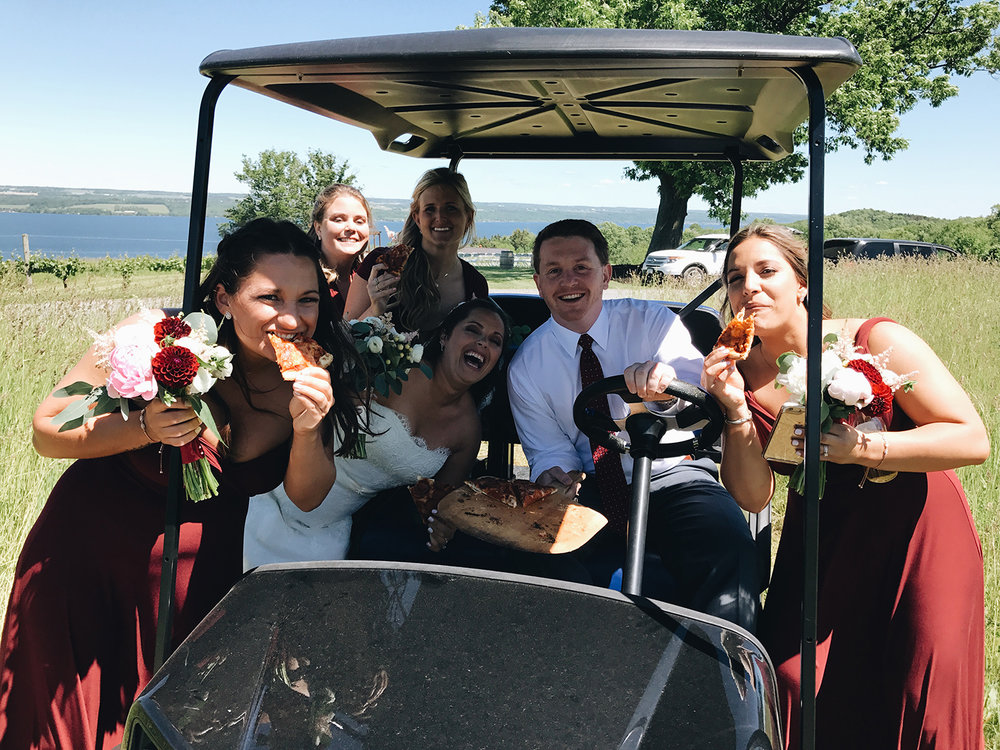 THIS IS WAS ONE OF MY FAVORITES MOMENTS FROM THE WEEKEND BECAUSE IT CAPTURES STEPH AND JACK PERFECTLY. AFTER THEIR FIRST LOOK, JACK DROVE UP ON A GOLF CART, PIZZA IN HAND. HE KNEW HIS BRIDE AND HER GIRLS MIGHT NEED A SNACK, SO BEING THE GENT THAT HE IS, BROUGHT US UP A PIE. BEST. HUBBY. EVER.