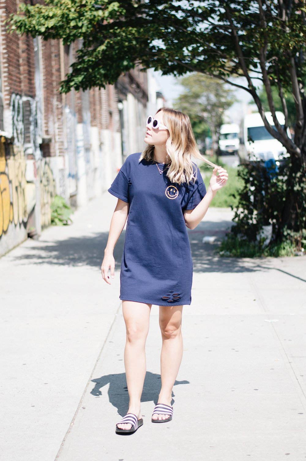 HONEY PUNCH T-SHIRT DRESS ,  UO WHITE SUNNIES ,  ADIDAS SLIDES
