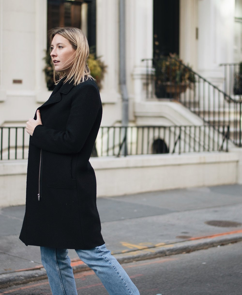 Zara Felt Coat (similar  here  +  here ), Vintage Denim (similar  here  +  here ),  J. Crew Perfect Fit Long Sleeve Tee ,  Dolce Vita Ankle Boots  ( on sale )