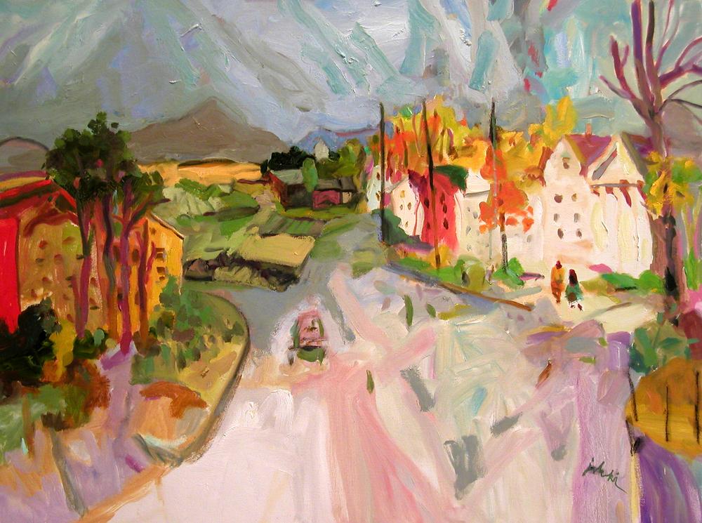 Zygmund Jankowski-Autumn Landscape with Pink Road-oil on canvas-30x40.jpg