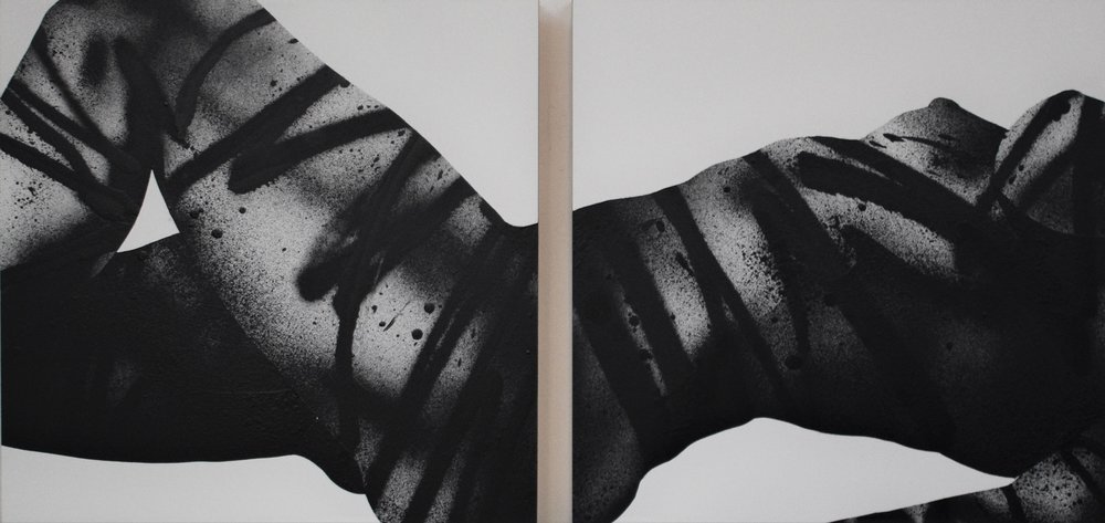 "Astacia    Spray paint and acrylic on wood panel, 2018  12 × 24 × 2"""