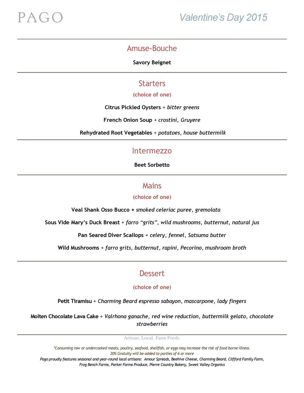 Pago Valentine's Day Menu 2015