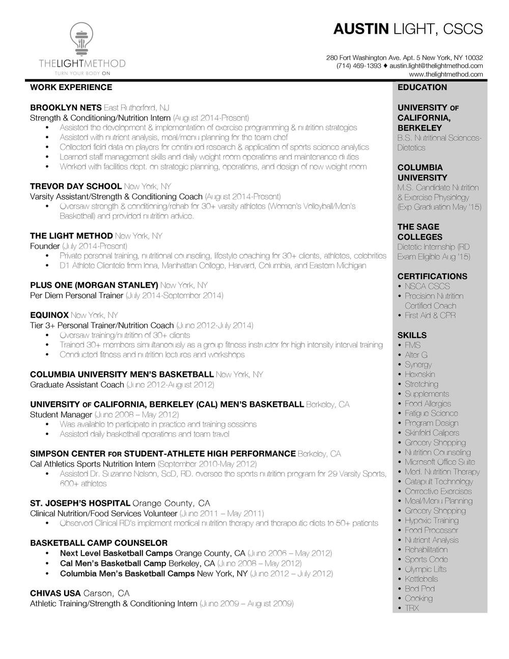 resume the light method austinlightresume jpg