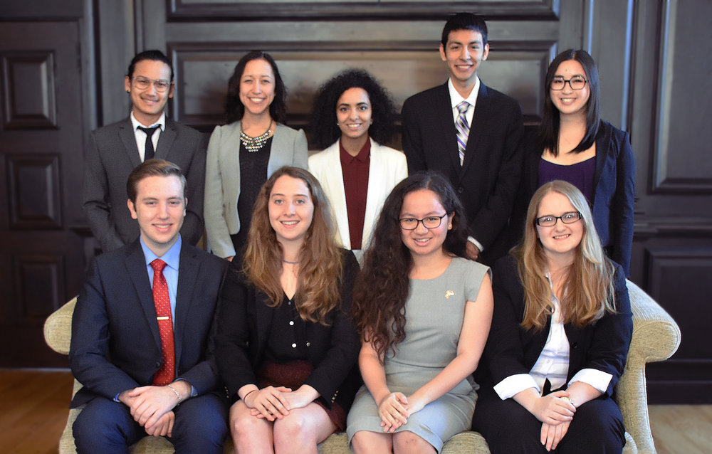 Back row (left to right): Tout Tun Lin, Camilla Suarez, Maha al-Suwaidi, Francisco Alvarez, Angela Guo; First row (left to right): Patrick Cressler, Anne Warnke, Sarah Anderson, Erin Olivieri
