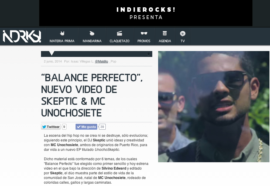 Reseña del video de Balance Perfecto en Indie Rocks!