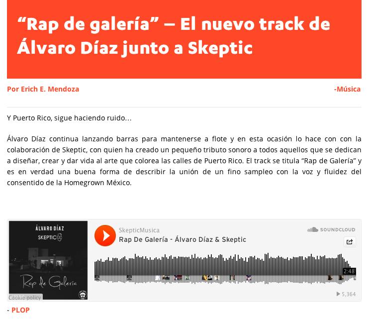 Plop Radio Alvaro Diaz Skeptic Rap de Galeria Puerto Rico Lv Ciudvd Hip Hop Electronic