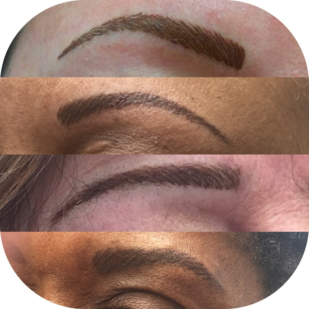 These were all different eyebrows on different woman. They barely had hair. Some were done with a shading technique, then came back for hairlike strokes after words.