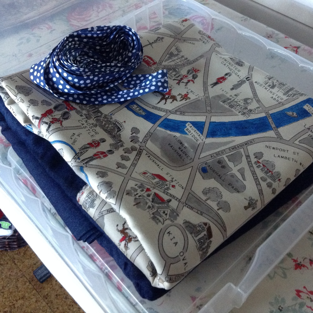 I am just silly about this London Map fabric and finally have a place to put it...that would be lining my jacket. Please note lovely clear project box replete with binding.