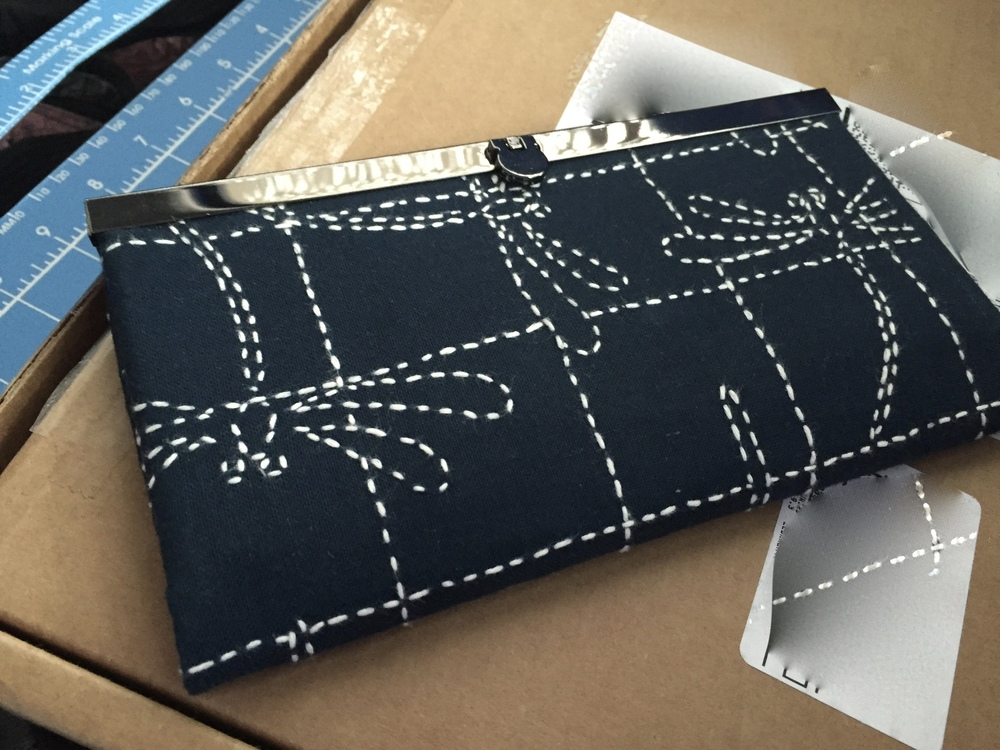 Dragonfly Sashiko Sampler, made into Diva Frame Wallet