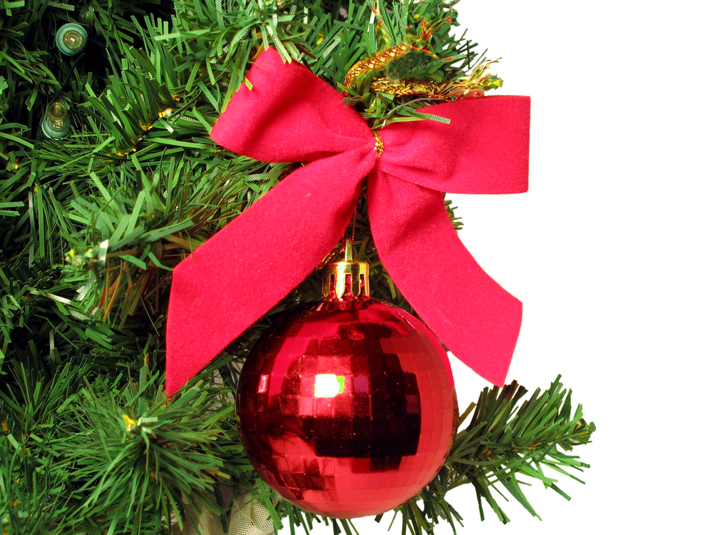 Red Ornament on Tree -- [LEGAL USE OF THIS PHOTO LICENSED AND SECURED VIA DREAMSTIME - September 2014]