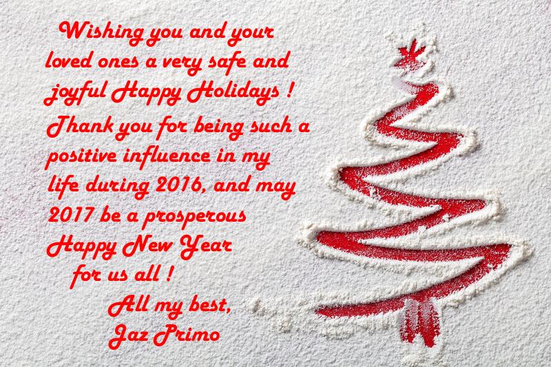 Jaz wishes you Happy Holdays!
